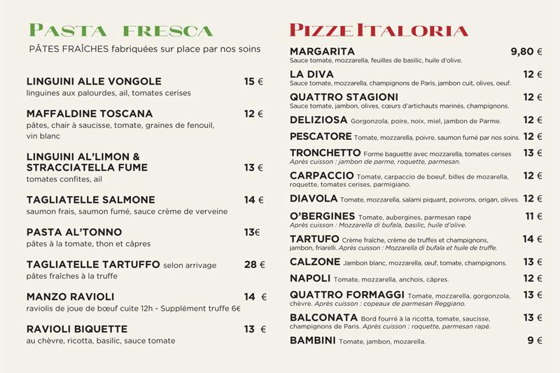 Carte des pizzas et pâtes à emporter