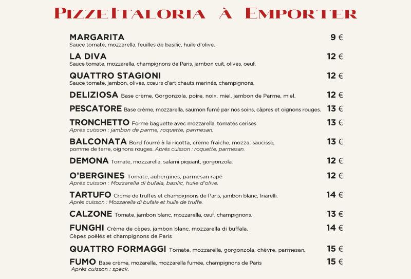 Pizzas à emporter - Italoria